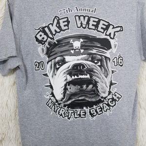 Biker t shirt bike week gray tee medium bulldog